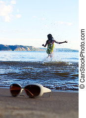plaża, okulary