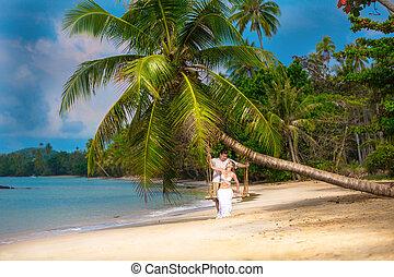 plaża, para, miłość