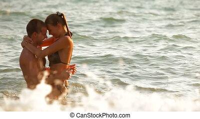 plaża, para, zabawa, posiadanie