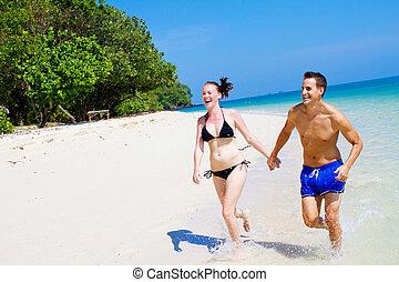plaża, para