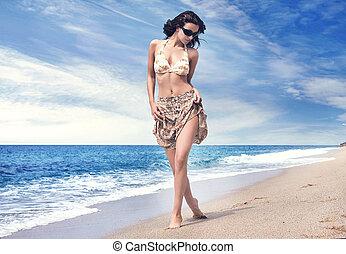 plaża, piękny, tropikalna kobieta