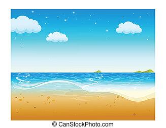 plaża, piękny, tropikalny