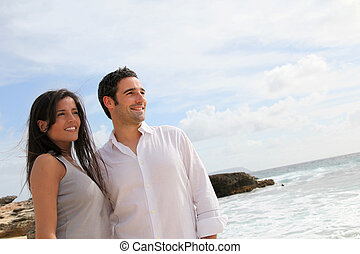 plaża, pieszy, karaibski, para, szczęśliwy