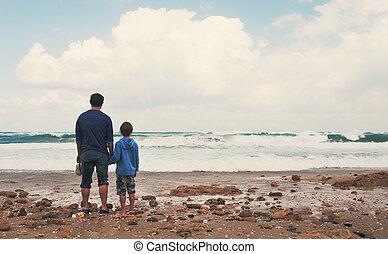 plaża, pieszy, ojciec, syn