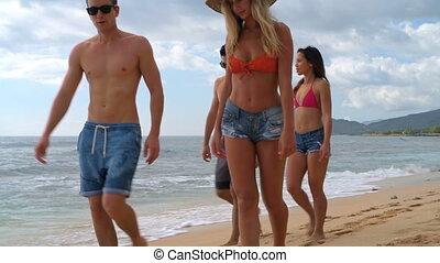 plaża, pieszy, pary, 4k