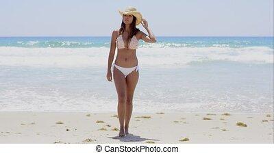 plaża, pieszy, sexy, kobieta, wspaniały, młody