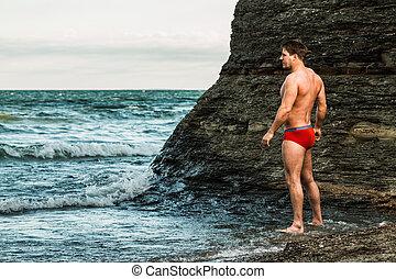 plaża, pociągający, człowiek