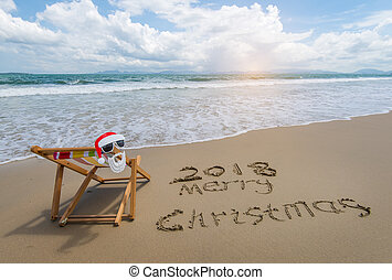 plaża., pokład, piasek, tropikalny, pisemny, 2018, wesoły, krzesło, boże narodzenie