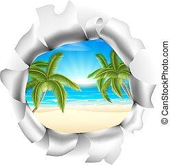 plaża, przez, scena, tło