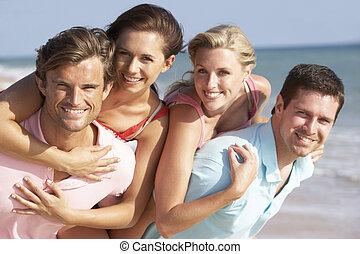 plaża, przyjaciele, cieszący się, święto, grupa