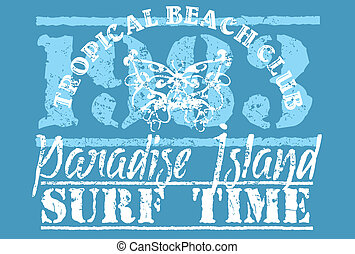 plaża, raj, sztuka, wektor, długi