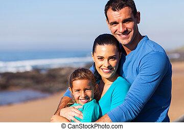 plaża, rodzina, kochający