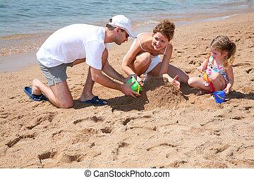 plaża, rodzina