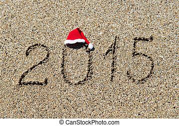 plaża, rok, -, nowy, 2014, święto, kapelusz, boże...