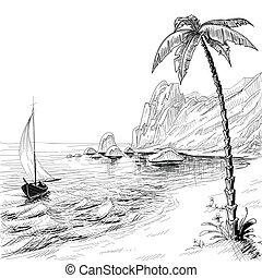 plaża, rys, drzewo, wektor, dłoń, morze, łódka