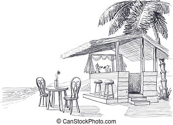plaża, rys, wektor, bar