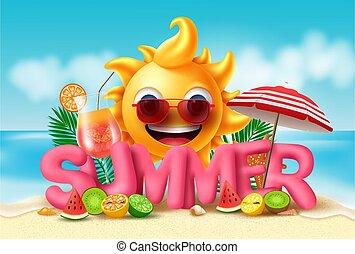 plaża, słońce, wybrzeże, 3d, tropikalny, design., owoce, pomarańcza, chorągiew, kiwi, świeży, podobny, tło., lato, różowy, cytryna, sok, tekst, melon, wektor, woda, uśmiechanie się, wapno