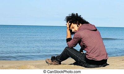 plaża, samotny, smutny, obsadzać posiedzenie