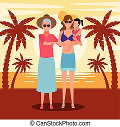 plaża, starowina, dzierżawa, dziewczyna, szczęśliwy