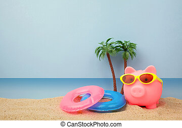 plaża, sunglasses, piggy bank