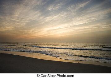 plaża, sunset.