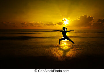 plaża, sylwetka, na wolnym powietrzu, yoga