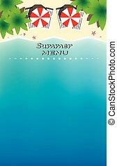 plaża, szablon, pionowy, raj, ilustracja, lato, prospekt, menu, wektor, górny