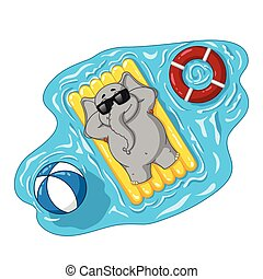 plaża, szczęście, cartoon., cielna, możliwy do napompowania, character., odizolowany, zbiór, mattress., sun., elephants., morze, wektor, elephant., lato