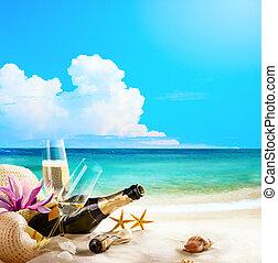 plaża., sztuka, romantyk, butelka, okulary, morze, wino, szampan, san