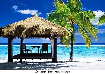 plaża, tropikalny, balkon, zdumiewający, krzesła