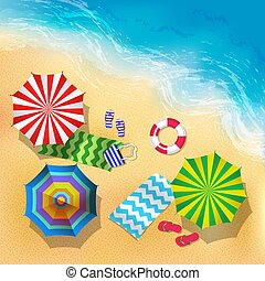 plaża, umbrella., lato, górny, ilustracja, piasek, wektor, tło, prospekt