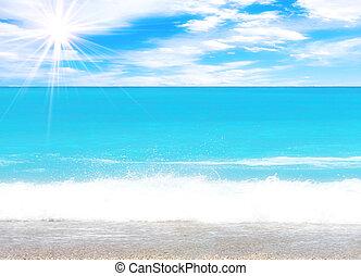 plaża, wspaniały