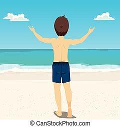 plaża, wstecz, człowiek