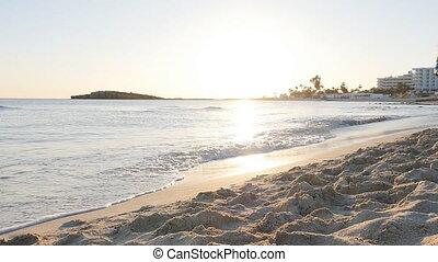 plaża, wyścigi, kobieta, zachód słońca, młody