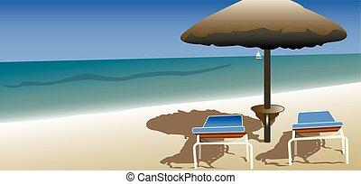 plaża, złagodzenie, urlop, lato