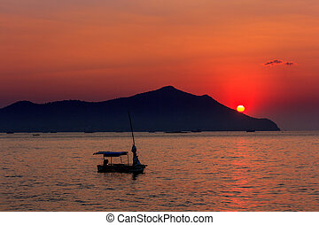 plaża., zachód słońca