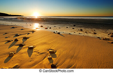 plaża, zachód słońca