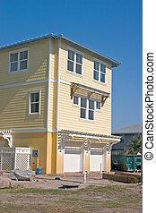plaża, zbudowanie, żółty, dom