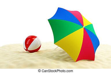 plażowa piłka, parasol