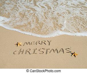 plażowy piasek, tropikalny, wesołe boże narodzenie, pisemny, biały