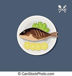 plaat., pictogram, visje, citroen, gebraden, hoogste mening