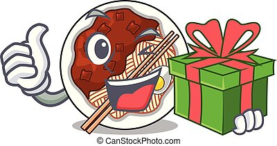 placé, mascotte, bol, cadeau, jajangmyeon