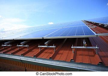 placé, panneaux, solaire, toit