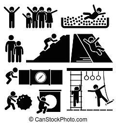 plac gier i zabaw, sala gimnastyczna, domowy, pokój, dżungla