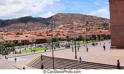 plac, kościół, cuzco, armas., peru, od