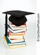 placa almofariz, ligado, livros, pilha
