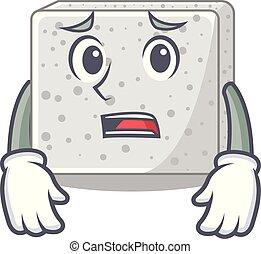 placa, asustado, queso, feta, caricatura, bloque