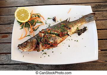 placa, bajo, de madera, pez, porción, asado parrilla, mar,...