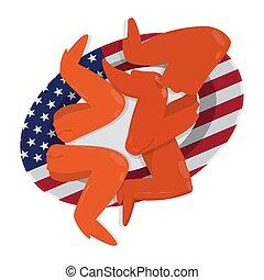 placa, bandera, alas pollo