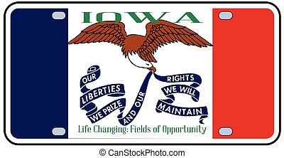 placa, bandera, iowa, licencia